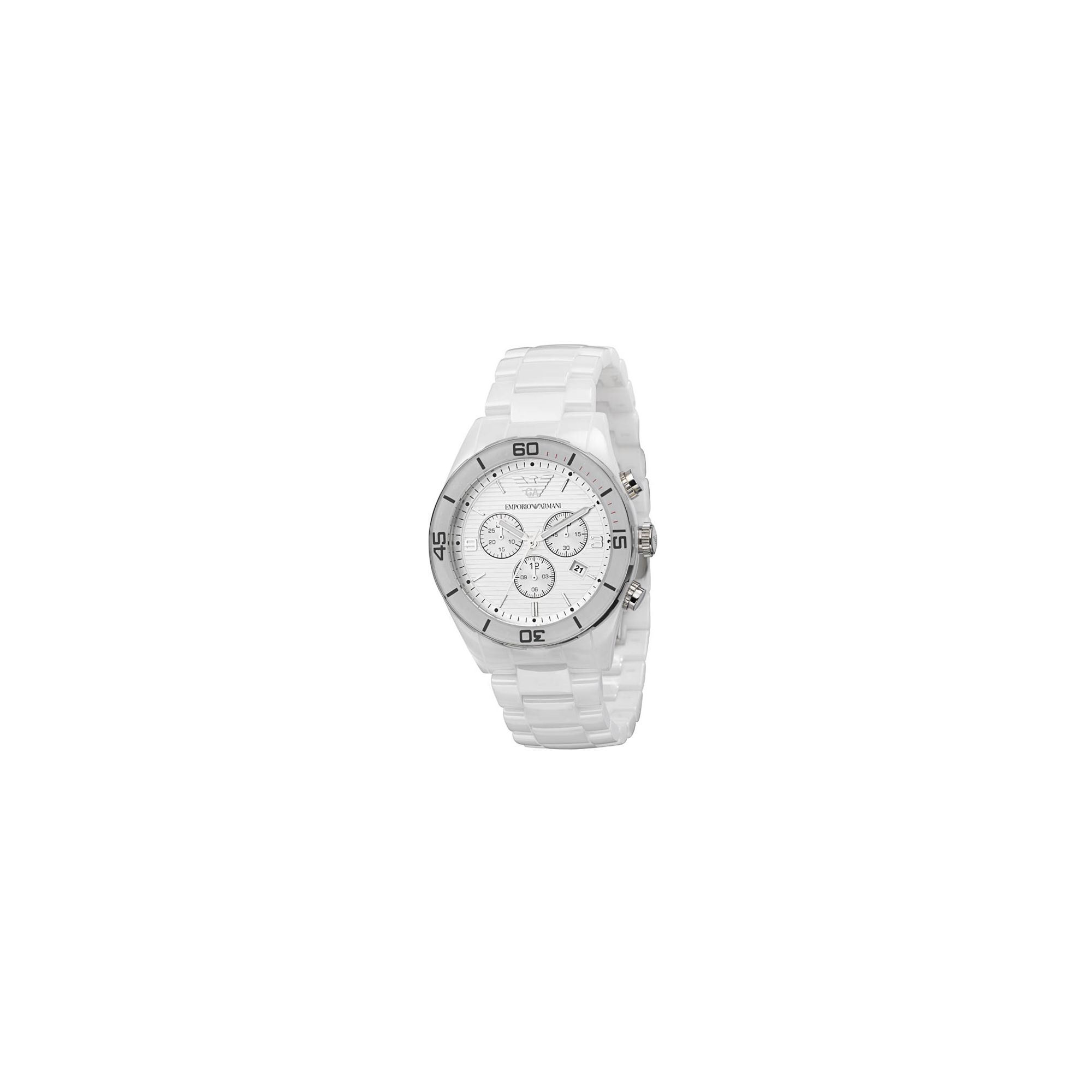 Emporio Armani Gents White Ceramica Chrono Watch AR1424 at Tesco Direct