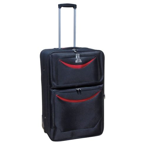 Beverly Hills Polo Club 2-Wheel Suitcase, Black & Red Medium