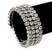 Bridal Clear CZ Wrap Bangle Bracelet - Adjustable