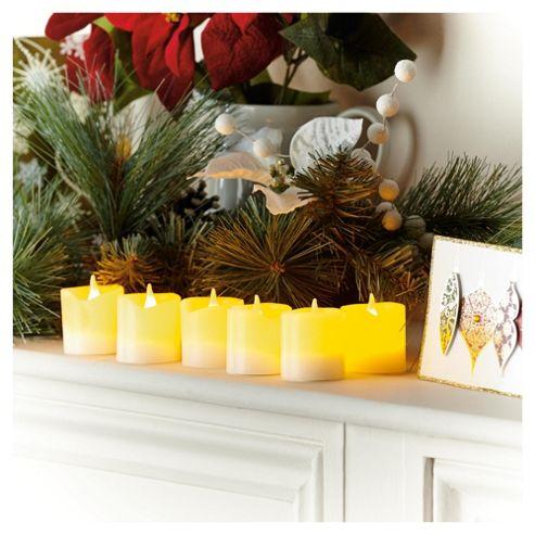 Festive 6 LED Christmas Candles, White