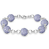 Jewelco London Rhodium Coated Sterling Silver Crystal 10mm Disco Ball Shamballa Bracelet - Lilac