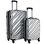 Swiss Case Wave 4-Wheel 2Pc Abs Suitcase Set, Silver