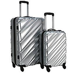 Swiss Case Wave 4-Wheel 2Pc Abs Suitcase Set, Silver