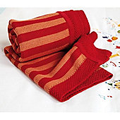 Clair de Lune Knitted Stripe Blanket (Red & Orange)