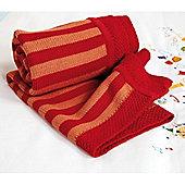 Clair de Lune Knitted Stripe Blanket (Red & Orange)