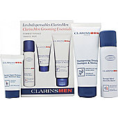 Clarins Men Gift Set Travel Kit 50ml Smooth Shave Foaming Gel + 30ml Super Moisture Balm + 100ml Shampoo & Shower Wash