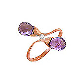 QP Jewellers Diamond & Amethyst Duo Briolette Ring in 14K Rose Gold