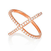 Rose gold plated ring with pave cross