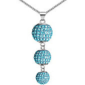 Jewelco London Sterling Silver Baby Blue Crystal Disco Ball Drop Necklace - 18 inch Chain