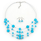 Turquoise Coloured Shell & Crystal Floating Bead Necklace & Drop Earring Set - 52cm Length/ 5cm extension