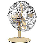 "Swan Retro Vintage 12"" Desk Fan, 3 Speed - Cream"