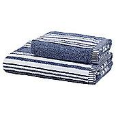 Blue Marl Stripe Bath Towel