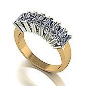 18ct Gold 7 Stone Radiant Moissanite Eternity Ring