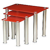 ValuFurniture Crystal Nest of Tables Red and Chrome