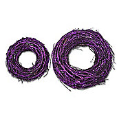 Small and Large Pair of Purple Glitter Finish Round Grapevine Wreath
