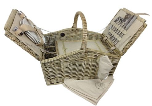 Wicker Valley Double Lidded 4 Person Picnic Hamper