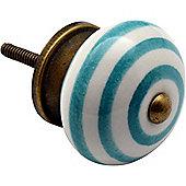 Nicola Spring Ceramic Cupboard Drawer Knob - Stripe Design - Turquoise