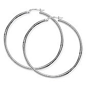 Jewelco London 9ct White Gold - Thin Hoop Earrings -