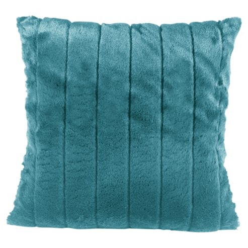 Tesco Ribbed Faux Fur Cushion Teal