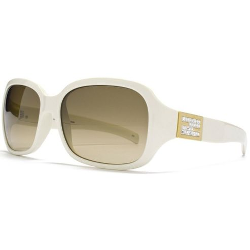 Fendi Sunglasses Square in Ivory featuring Diamante Temple Detailing and a Gradient Lens Brown