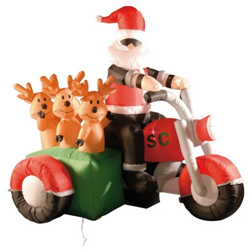 Festive 6Ft Inflatable Santa on Motorbike