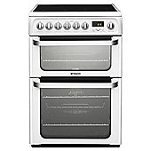 Hotpoint HUE62PS, 60cm, White, Electric Cooker, Double Oven