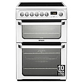 Hotpoint HUE62PS, Ultima, Freestanding, Electric Cooker, 60cm, Inox, Twin Cavity, Double Oven