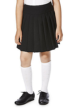 F&F School Girls Permanent Pleat Kilt Skirt - Black