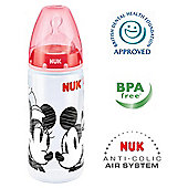 NUK Disney Mickey & Minnie 300ml Bottle Size 2 Teat - Red.