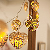 10 Gold Filigree Heart Battery LED Fairy Lights