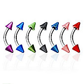 Urban Male Pack Of Seven Surgical Stainless Steel 1.2mm Gauge Curved Barbells with Metallic Coloured Spikes