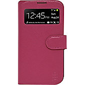 Tortoise™ Genuine Leather Flip Cover Case with Interactive Window Samsung Galaxy S4 Pink.