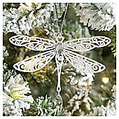 Weiste Glitter White Dragonfly Christmas Tree Decoration