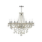 Eight Arm Amber and Transparent Glass Ceiling Chandelier