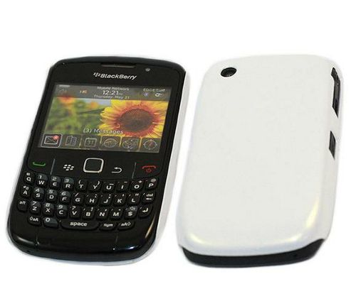 White Glossy UV SnapGuard Protection Case - BlackBerry 8520 Curve, 9300 3G