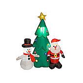 6' Green Tree, Snowman/Santa LED