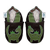 Dotty Fish Soft Leather Baby Shoe - Brown and Green Dinosaur - Dark brown