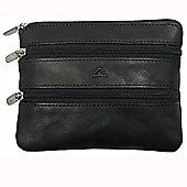 Tony Perotti Italian leather 3 zip coin holder, for men and for women. Black