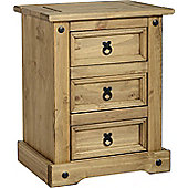 Single Corona 3 Drawer Bedside Chest Cabinet, Solid Mexican Style Pine