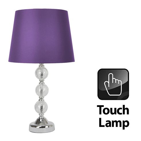 Crackle Glass Ball Touch Table Lamp in Chrome with Purple Shade