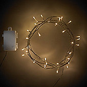 40 Warm White LED Battery Fairy Lights With Timer