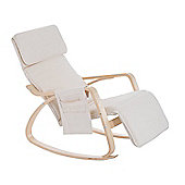 Homcom Wooden Rocking Lounge Chair Recliner Relaxing Seat with Adjustable Footrest & Side Pocket & Cushion (Beige)