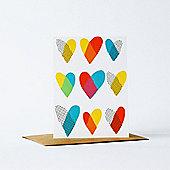 Yellow Owl Workshop Card - Hearts