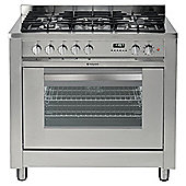 Hotpoint EG900XS, Inox Stainless Steel, Gas Cooker, Double Oven, 60cm