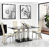 Vienna Black Glass 160 cm Dining Table with 4 Ivory Alisa Chairs