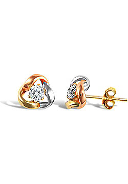 Ladies 9ct Yellow White and Rose Gold White Round Brilliant Cubic Zirconia Love Knot Solitaire Stud Earrings