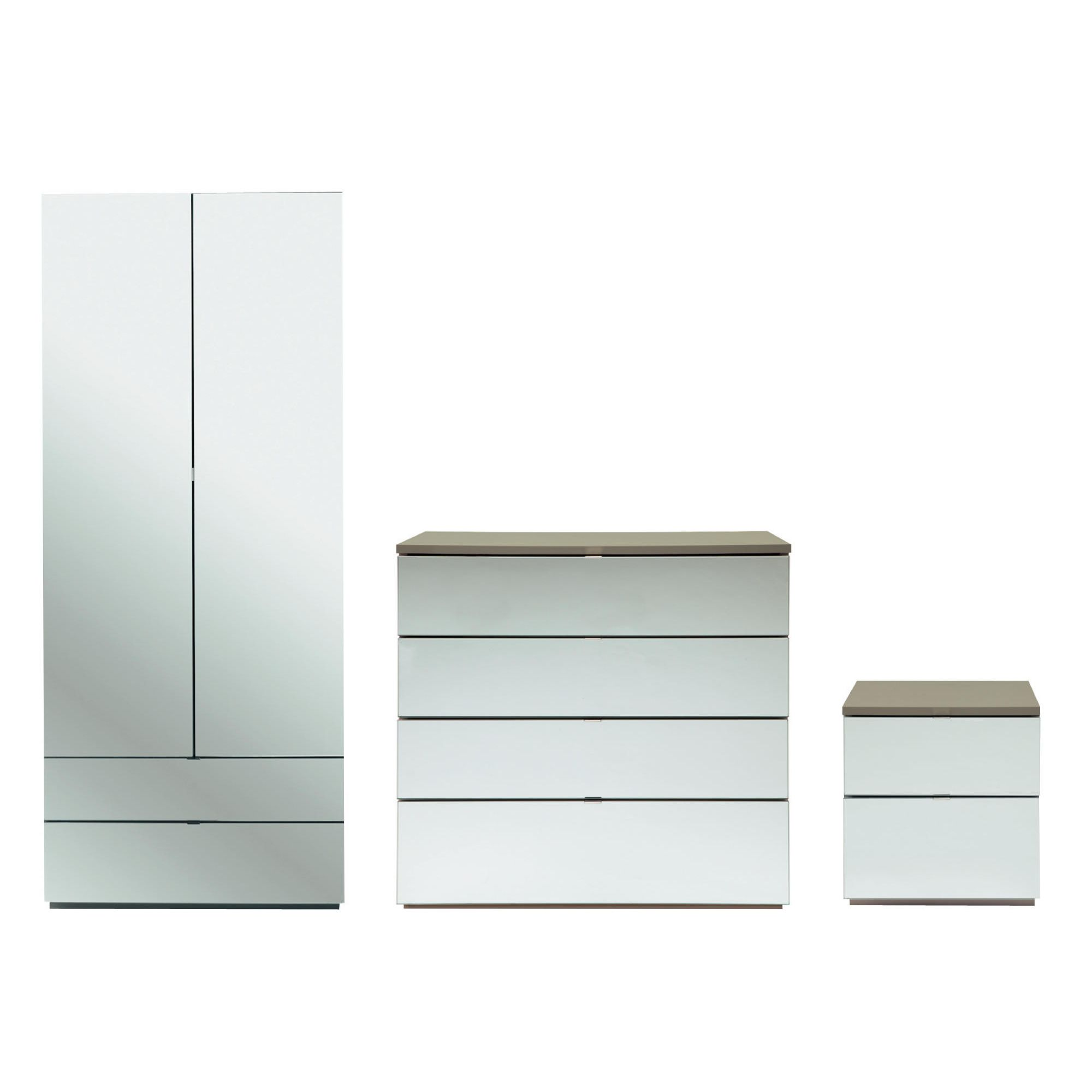 Palermo Package 1 Taupe (Wardrobe, Bedside, 4 Drawer Chest)-Mirrored at Tesco Direct