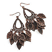 Bronze 'Leaf' Drop Earrings - 8.5cm Length