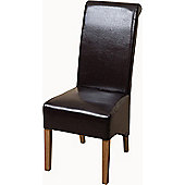 x6 Montana Scroll Back Brown Leather Dining Chairs