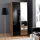 Amos Mann furniture Milano 2 Door 2 Drawer Wardrobe - Black and Walnut